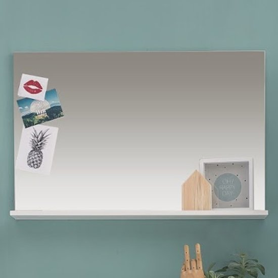 Amanda Wall Mirror With Shelf In White High Gloss