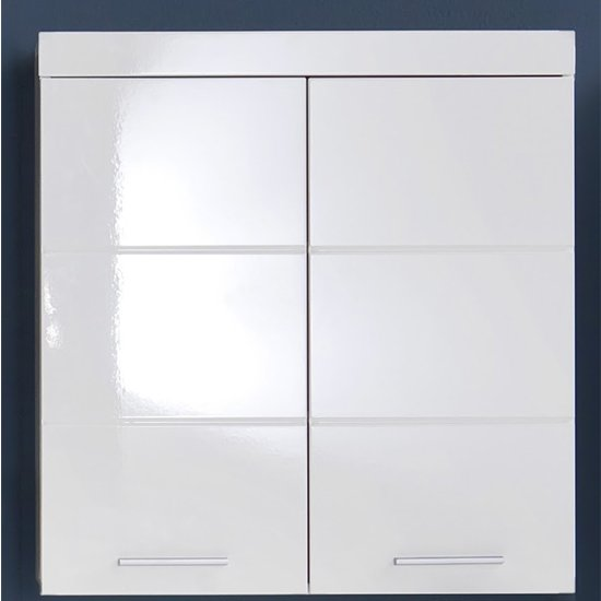 Amanda Wall Storage Cabinet In White Gloss With 2 Doors