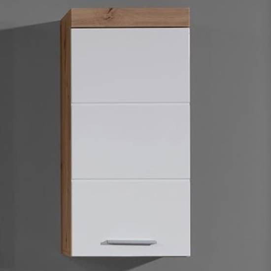Amanda Wall Storage Cabinet In White Gloss And Knotty Oak