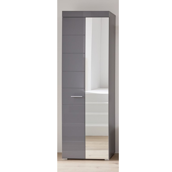 Amanda Wardrobe In Grey High Gloss With 1 Mirror Door