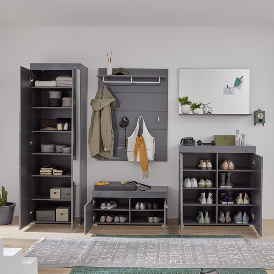 Amanda Wardrobe And Shoe Cabinet With Bench In Grey High Gloss_2