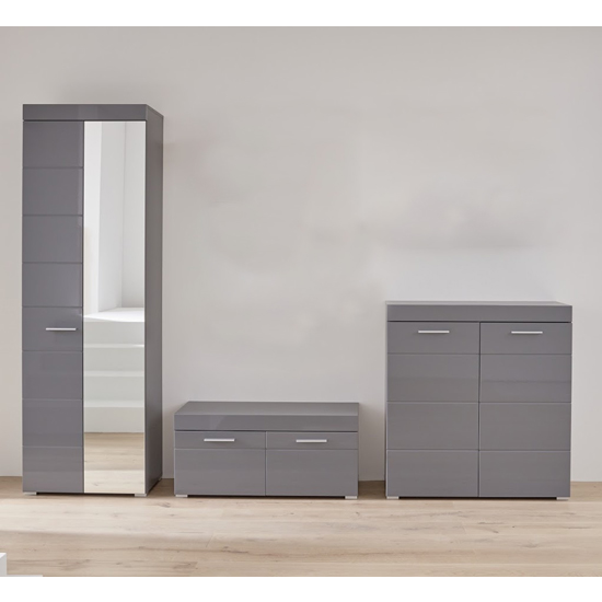 Amanda Wardrobe And Shoe Cabinet With Bench In Grey High Gloss