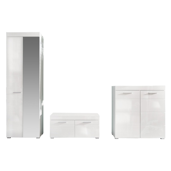 Amanda Wardrobe And Shoe Cabinet With Bench In White High Gloss