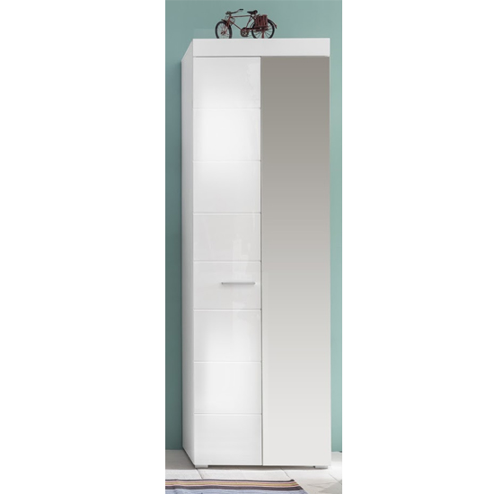 Amanda Wardrobe In White High Gloss With 1 Mirror Door