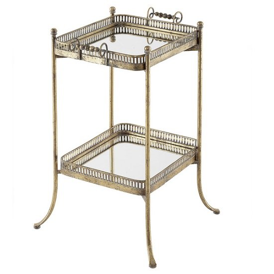 Amanda Mirrored Square Side Table And Serving Tray In Metal