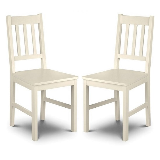 Amandes Wooden Dining Chair In Stone White Lacquer In A Pair