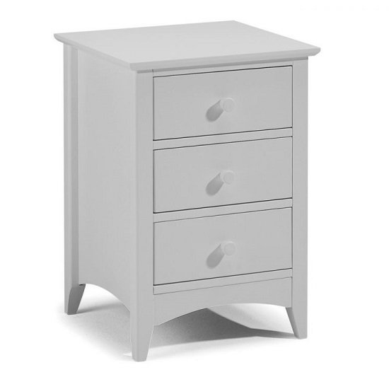 Amandes Three Drawers Bedside Tables In Dove Grey Lacquer
