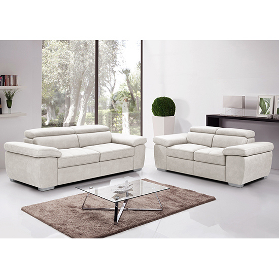 Amando Fabric 2 Seater And 3 Seater Sofa Suite In Beige