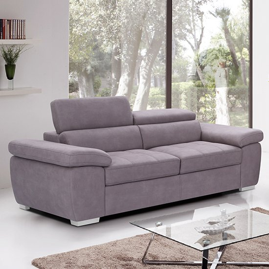 Amando Fabric 3 Seater Sofa In Mushroom