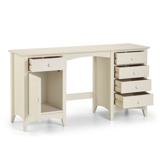 Amani Twin Pedestal Dressing Table In Stone White_2