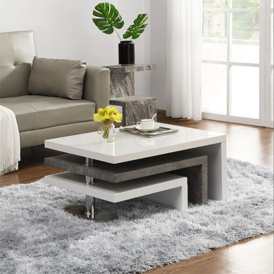 Amani Rotating Coffee Table In White Gloss And Concrete Effect