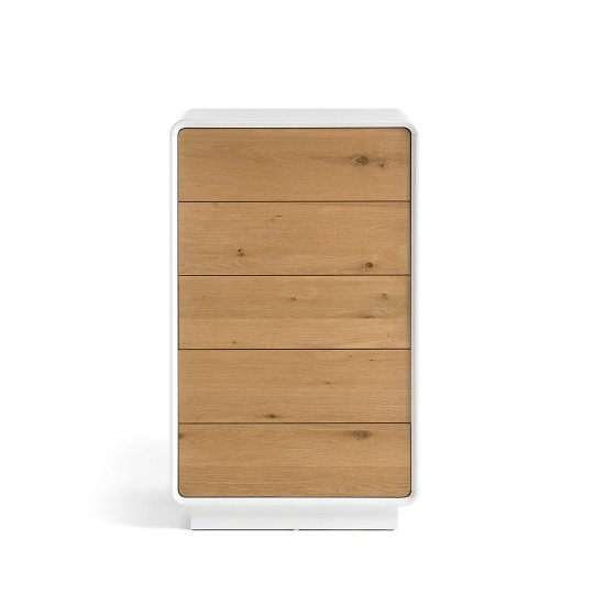 Amara Wooden Chest Of Drawers In Knotty Oak And Matt White_2