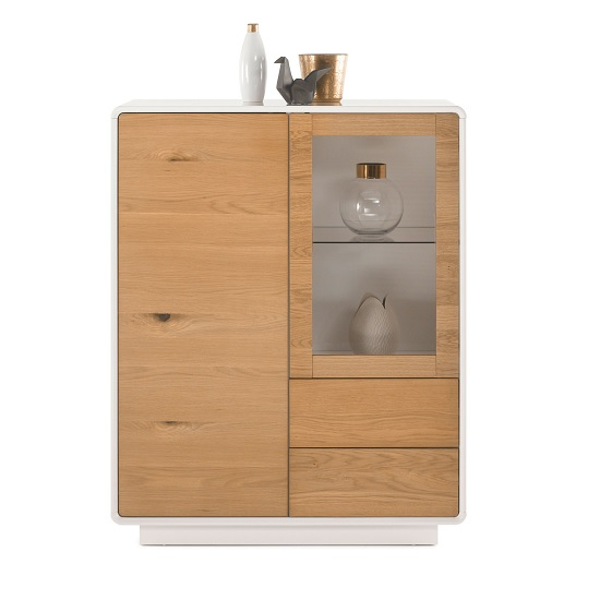 Knotted Oak Kitchen Cabinets: Amara Display Cabinet In Knotty Oak And Matt White With