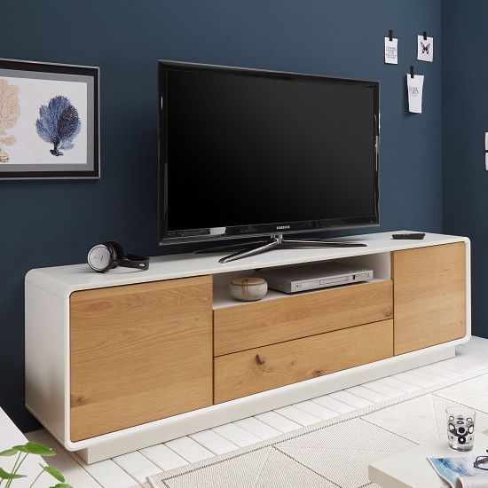 Amara Contemporary Wooden TV Stand In Knotty Oak And Matt White_1