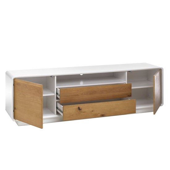 Amara Contemporary Wooden TV Stand In Knotty Oak And Matt White_2