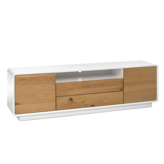 Amara Contemporary Wooden TV Stand In Knotty Oak And Matt White_3