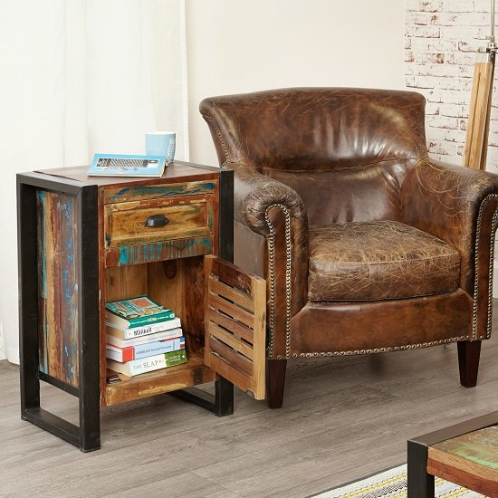 London Urban Chic Wooden Bedside Cabinet With 1 Door_3