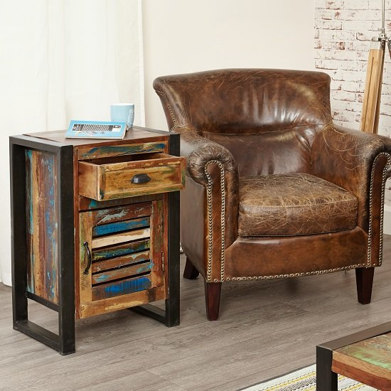 London Urban Chic Wooden Bedside Cabinet With 1 Door_2