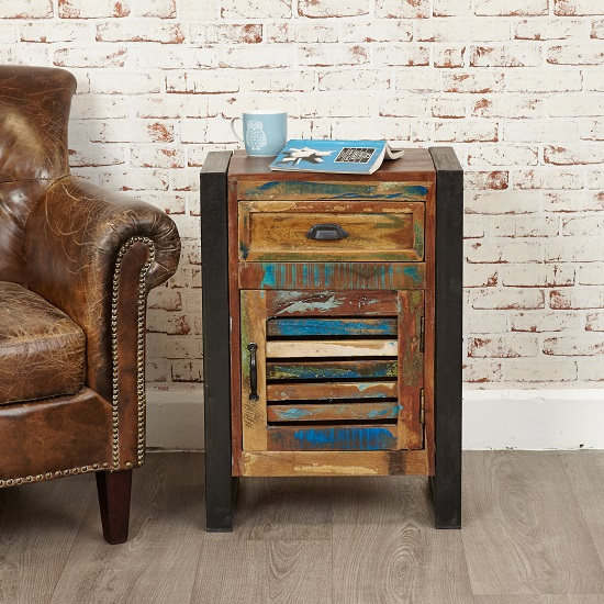 London Urban Chic Wooden Bedside Cabinet With 1 Door