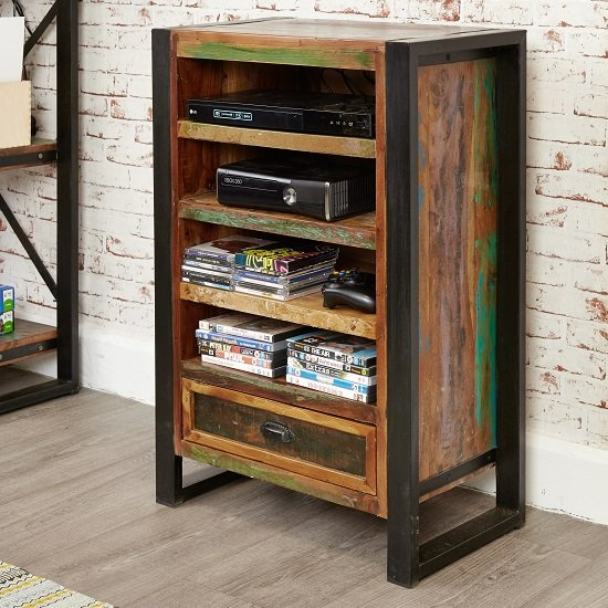 London Urban Chic Wooden Entertainment Cabinet With 4 Shelf_1