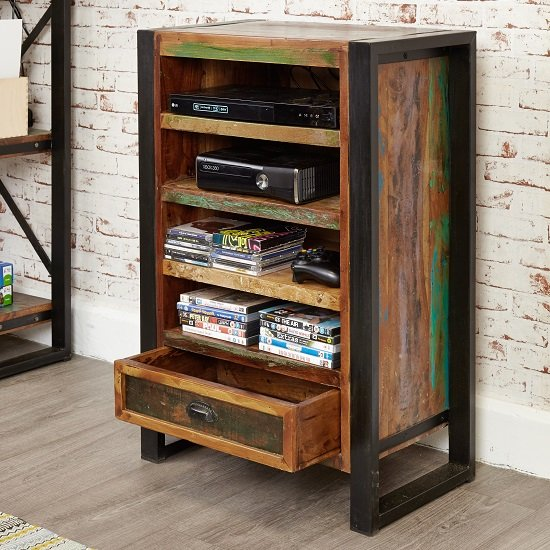 London Urban Chic Wooden Entertainment Cabinet With 4 Shelf_2