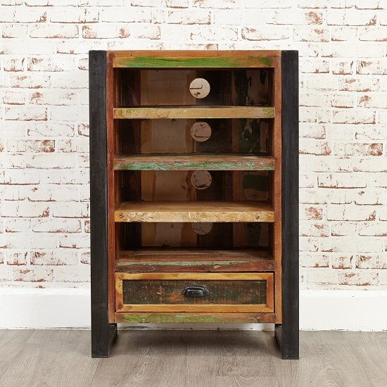 London Urban Chic Wooden Entertainment Cabinet With 4 Shelf_3