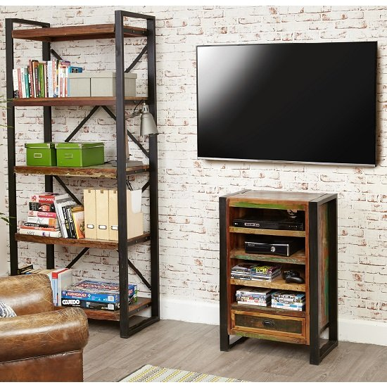 London Urban Chic Wooden Entertainment Cabinet With 4 Shelf_4