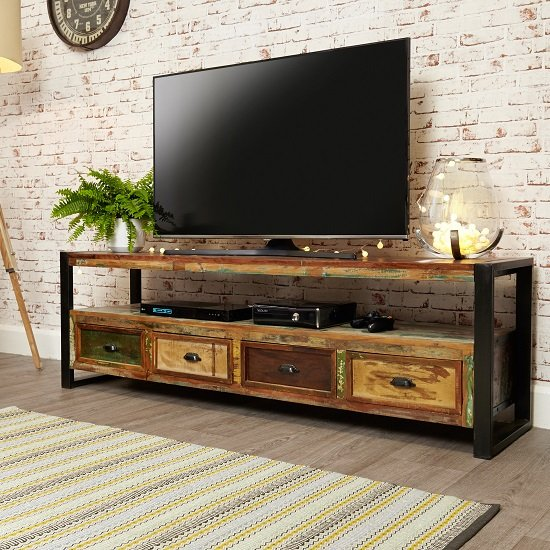 London Urban Chic Wooden Large Tv Stand With 4 Drawers