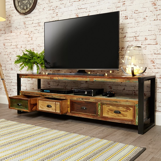 London Urban Chic Wooden Large TV Stand With 4 Drawers_2