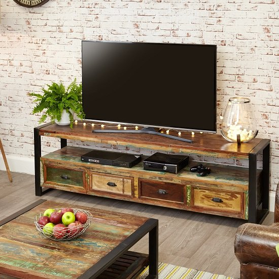London Urban Chic Wooden Large TV Stand With 4 Drawers_5