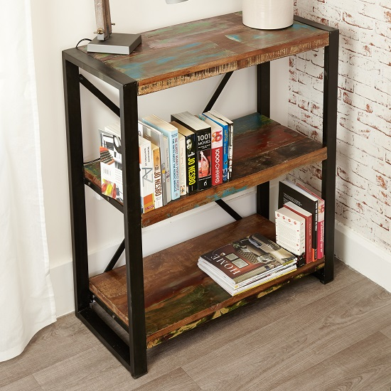 London Urban Chic Wooden Low Bookcase With 3 Shelf 27680
