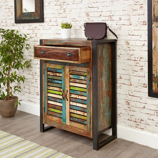 London Urban Chic Wooden Shoe Cabinet With 2 Doors_4