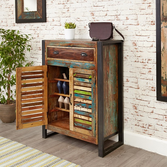 London Urban Chic Wooden Shoe Cabinet With 2 Doors_6