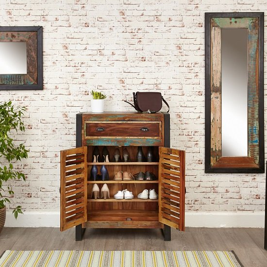 London Urban Chic Wooden Shoe Cabinet With 2 Doors_2