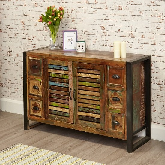 London Urban Chic Wooden Sideboard With 6 Drawers and 2 Doors