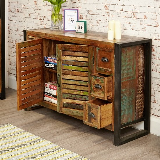 London Urban Chic Wooden Sideboard With 6 Drawers And 2