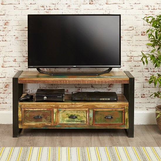 London Urban Chic Wooden TV Stand With 3 Drawers_2