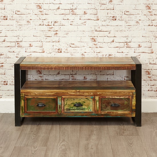 London Urban Chic Wooden TV Stand With 3 Drawers_4