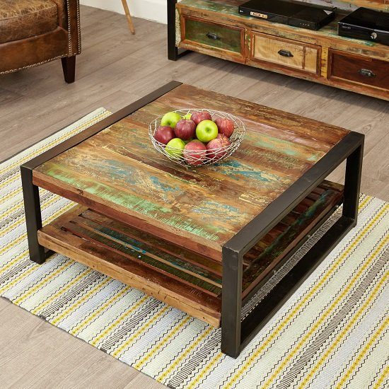 View London urban chic square wooden coffee table with undershelf