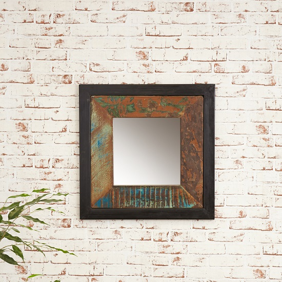 London Urban Chic Wooden Square Wall Mirror_1