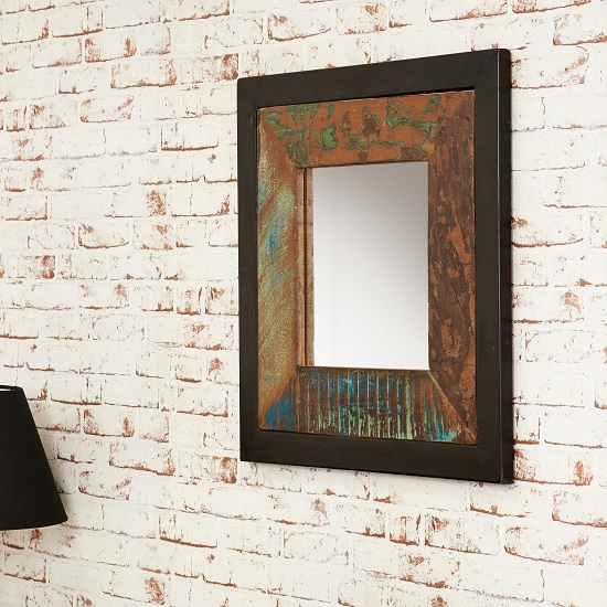 London Urban Chic Wooden Square Wall Mirror_2