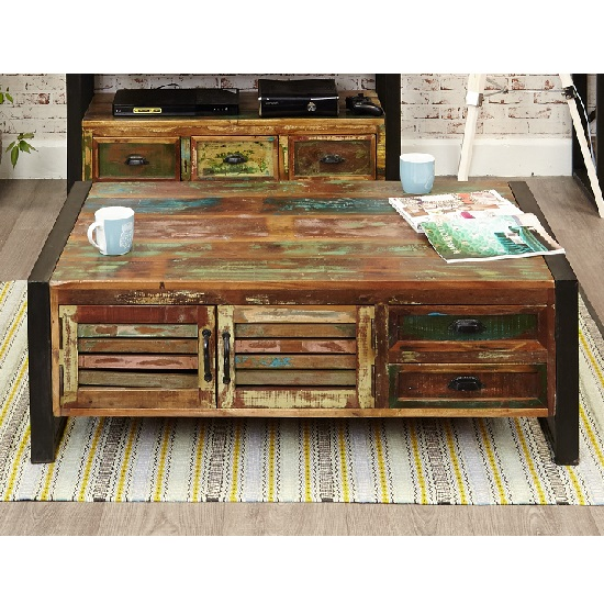 Amara Wooden Storage Coffee Table With 4 Doors And 4