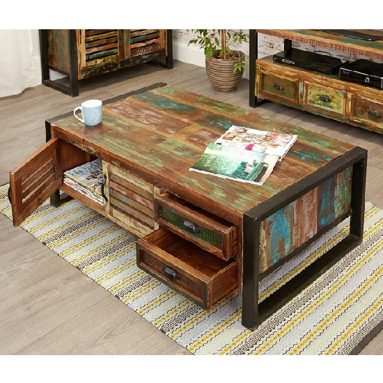 London Urban Chic Wooden Storage Coffee Table With 4 Doors_3