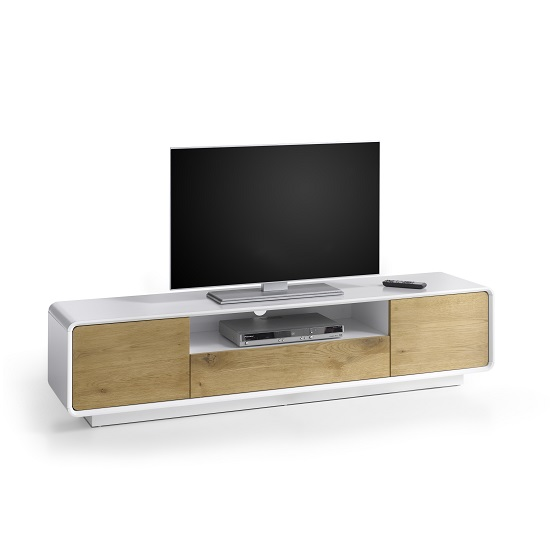 Knotty White Oak Cabinets: Amara Wooden TV Stand In Knotty Oak And Matt White With 2