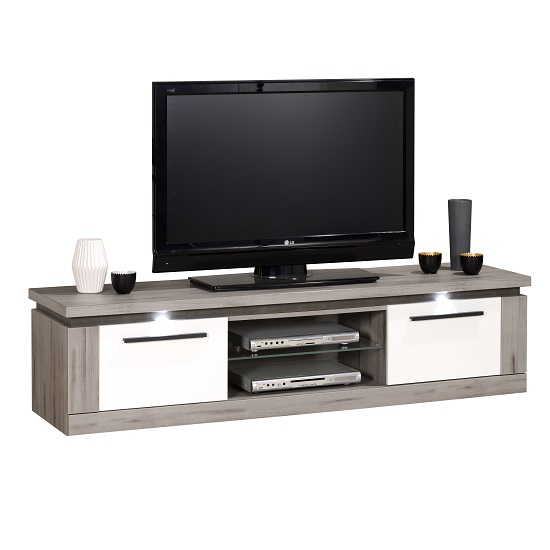 Celestine Wooden TV Stand In Dark Concrete And White With LED