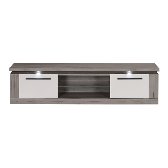 Celestine Wooden TV Stand In Dark Concrete And White With LED_3