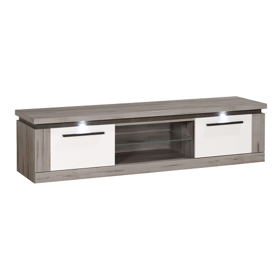 Celestine Wooden TV Stand In Dark Concrete And White With LED_2
