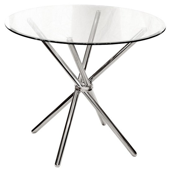 Amata Round Glass Dining Table With Chrome Base