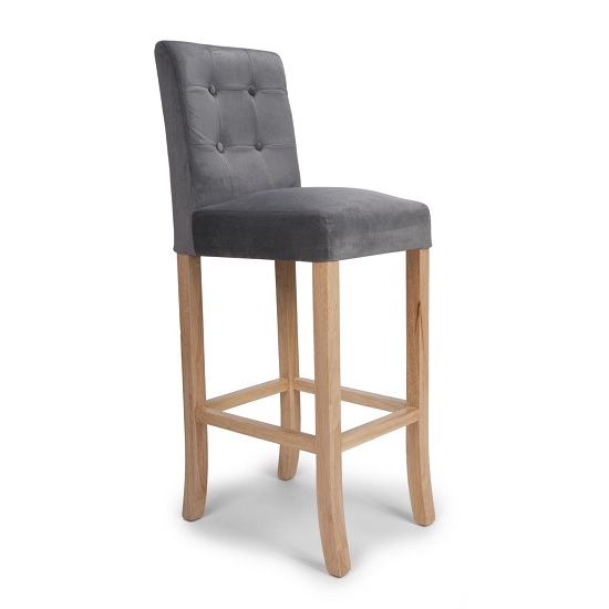 Amaze Bar Chair In Grey Brushed Velvet With Wooden Legs