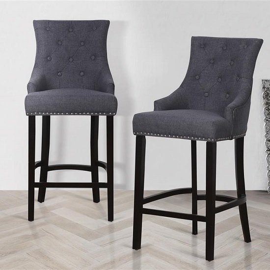 Product photograph showing Amaze Bar Stools In Grey With Wooden Legs In A Pair